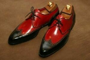 Handmade Two Tone Red Black Contrast Wing Tip Rounded Toe Leather Shoes
