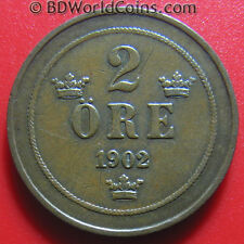 1902 SWEDEN 2 ORE SWEDISH COLLECTABLE WORLD COIN BRONZE 21.3mm KM# 746