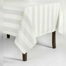 Threshold Gray Stripe Tablecloth  84 inches (L) x 60 inches (W) nwop