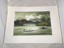 River Scene Asian Style Painting Boats Fisherman Village No Frame