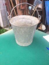 seau zinc ancien étanche - 28 cm - ideal jardinière- deco jardin -  Z7