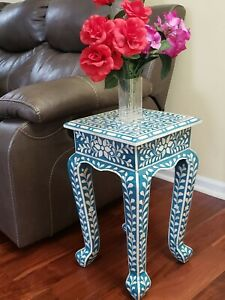 Floral Bone Inlay French Style 12 Inch Blue Accent Table | End Table
