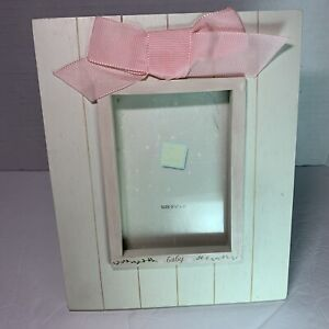 Russ Hand Painted Baby Girl Picture Frame Easel Pink Bow 3.5 x 5