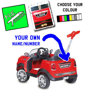 Personalised kids number plate stickers for MINI COOPER PUSH toy car buggy