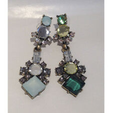 Beautiful Green Mint Powder Blue Oval Crystal Clusters Triangle Drop Earring