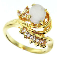 White Oval Stone & Clear Crystal 18kt Gold EP Ladies Ring Size 7