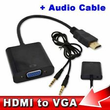 Hdmi A Vga + Jack 3.5 mm Cable De Audio Video Adaptador Convertidor Pc Laptop Xbox Reino Unido