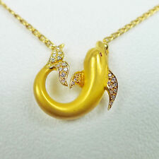 "Carrera Y Carrera Dolphin Pendant with Diamond 18K Yellow Gold 17"" Chain"