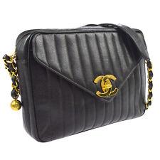 CHANEL Jumbo CC Mademoiselle Chain Shoulder Bag BK Caviar Skin VTG Auth BA01700j
