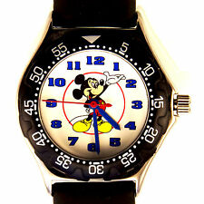 Mickey Mouse Disney Time Works Fossil Watch Easy Read Number Dial Diver Look $75