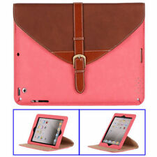 ETUI PORTE TABLETTE A RABAT iPAD 2 3 4 CARTABLE MARRON & ROSE ECO-CUIR (PU)