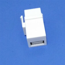 1PC USB 2.0 Female to Female Keystone Insert Wall Plate Adapter Jack WHITE