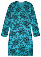 Girls Midi Dress New Kids Long Sleeved Bodycon Roses Dresses Ages 5 - 13 Years