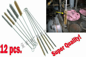 12 Round Pipe Tube Cylinder Bores Cleaning Wire Brush Set Stainless Steel Brass