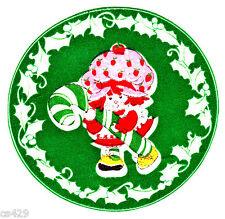 "4"" Strawberry shortcake candy cane holiday christmas fabric applique iron on"