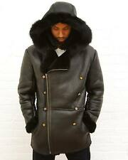 Shabazz Brothers OFFICER SHEARLING Leather Black Alpine HOODED JACKET Coat XL