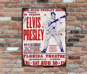 "Elvis Presley10x8 "" Retro Metall Werbung Poster Schild Wandkunst Pic"