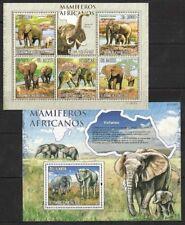 Sao Tome 2010 MNH MS+SS, Elephant, Wild Animals of Africa