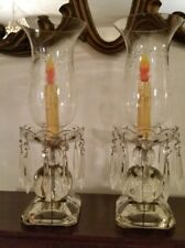 A Pair Of Antique Crystal Hurricane Lamps With Crystal Drops And Etched globes