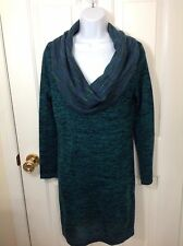 SOFT SURROUNDINGS Sweater Dress Knit Wool Cowl Neck Teal Black Tunic Medium