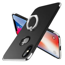 iPhone X 8 7 Plus 6s Case Hybrid 360° Rotating Metal Ring Holder Kickstand Cover for iPhone 6 Plus Black