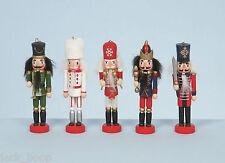 """Set De 5 De Madera De 5 """"Nutcracker Soldado árbol de Navidad Decoraciones En Caja"""