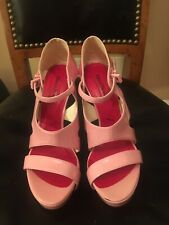 Cesare Paciotti Light Pink Patent Open Toe Stiletto Shoes Size 6.5
