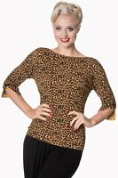 Women's Leopard Vintage 50's Retro Rockabilly Knitted Rocky Top BANNED Apparel