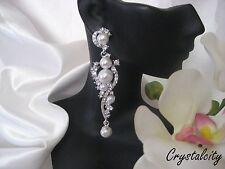 """NEW PEARL faux CRYSTAL WEDDING DANGLE CHANDELIER EARRINGS 3"""" L BRIDAL"""