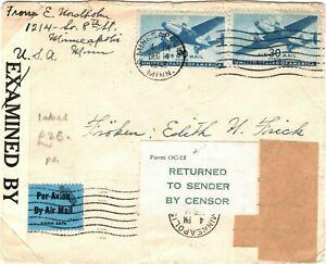 USA WW2 RETOUR Cover Label *FORM OC-15* CENSOR Minneapolis 1942 LS207