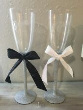 Decorated bride and groom wine glasses-Flute/silver/Black/white. Wedding