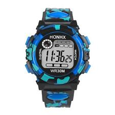 Waterproof Kids Children Boys Digital LED Sports Watch Alarm Date Watches Gift