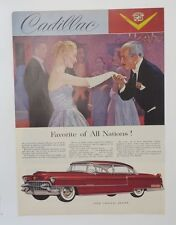Original Print Ad 1955 CADILLAC Favorite of all Nations Vintage Red