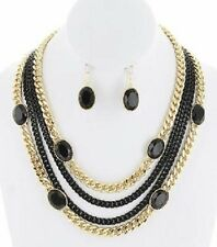 NEW MULTI STRAND CHAIN & BEAD NECKLACE & EARRING SET  GOLDTONE / BLACK