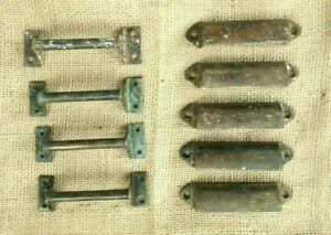 Antique Salvaged Copper Drawer Pull Handles/ Bin Cups 2 types Hardware Lot of 9