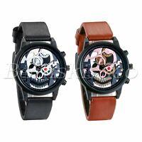 Men's Women's Fashion Skull Gear Leather Band Round Quartz Analog Wrist Watch