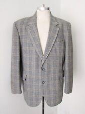 Vtg 70s Superfly Gray Blue Plaid Wool Tweed Disco Pimp Blazer Sears Jacket 44