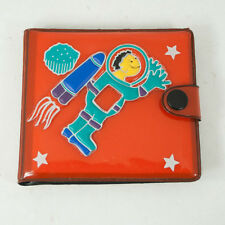 Kid's Red Plastic Vinyl Spaceman Snap Wallet Billfold