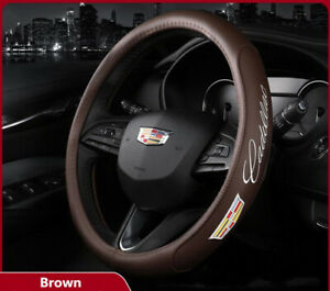 """15"""" Car Steering Wheel Cover Genuine Leather For Cadillac Brown"""