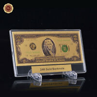 WR GIFT Colour US $2 Dollar Banknote 24k Gold Bank Note + Display Frame