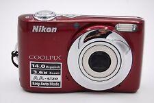 Nikon Coolpix L24 14.0mp 7.6cm Pantalla 3.6x Cámara Digital Rojo