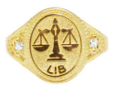 Men's Real 10K Yellow Gold Libra Scale Zodiac Astrology Designer Pinky Ring 14MM
