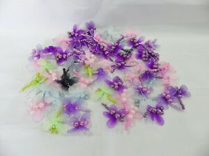 JOB LOT: 60 x Mixed Organza Gauze Beaded Dragonfly Embellishments 35mm x 40mm