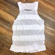 Eileen Fisher Women's Sheer White Striped Crochet Linen Knit Tank Top Medium