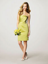 ALFRED ANGELO $169 #7129 SHEATH SiZE 14 KIWI GREEN SATIN BRIDESMAID PROM DRESS