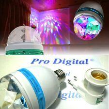 LAMPADINA COLORI RGB LED E27 ROTANTE DISCO STROBO: lampada + portalampade interr