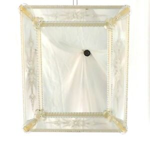 Mirror Glass Venetian With Engravings, Blossom & Petals IN Leaf Gold 24Kt