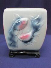 2 Koi Fish Pisces Vase Planter Asian Blue Pink White Black Glazed Rare Old