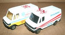 Two 1/64 Scale Mercedes Benz 307D Ambulance Rescue Van Diecast Model Toys
