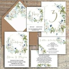 Personalised Luxury Wedding Invitations GREY & WHITE Winter Floral PK 10